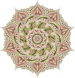 Eenvoudige kleurrijke abstracte mandala, beweging veroorzakende ethno Het heldere cirkelornament bestaat uit eenvoudige vormen Ge royalty-vrije stock fotografie