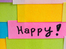 Eenvoudige korte die berichten op kleurrijke kleverige nota's worden geschreven Royalty-vrije Stock Foto's