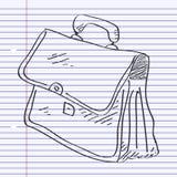 Eenvoudige krabbel van een aktentas Stock Foto