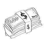 Eenvoudige krabbel van een pakje van bankbiljetten Stock Foto's
