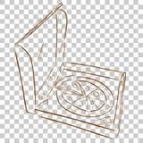 Eenvoudige krabbel van pizza in karton, bij transparante effect Achtergrond royalty-vrije illustratie