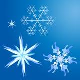 Eenvoudige leuke geplaatste sneeuwvlokken Stock Fotografie
