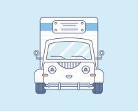 Eenvoudige leuke het glimlachen vrachtwagen op lichtblauw Stock Fotografie