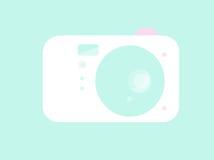 Eenvoudige lichtblauwe Cameraillustratie Stock Fotografie