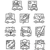 Eenvoudige lijnpictogrammen voor autoverzekering Royalty-vrije Stock Fotografie