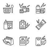 Eenvoudige lijnpictogrammen voor babyvoedsel Stock Foto's