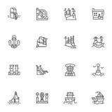 Eenvoudige lijnpictogrammen voor schepen en zeehavens Stock Afbeelding