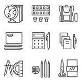 Eenvoudige lijnpictogrammen voor schoolonderwerpen Royalty-vrije Stock Foto's
