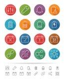 Eenvoudige lijnstijl: Geplaatste toepassing & Mobiele pictogrammen - Vectorillustratie Stock Afbeelding