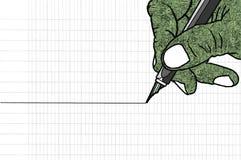 Eenvoudige lijntekening van hand die een pen houden Royalty-vrije Stock Afbeelding