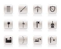 Eenvoudige middeleeuwse wapens en objecten pictogrammen Royalty-vrije Stock Afbeeldingen