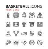 Eenvoudige moderne reeks Basketbalpictogrammen Stock Afbeeldingen