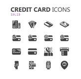 Eenvoudige moderne reeks creditcardpictogrammen Stock Afbeeldingen