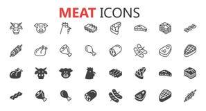 Eenvoudige moderne reeks vleespictogrammen Stock Fotografie