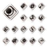 Eenvoudige Muziek en correcte pictogrammen Stock Fotografie