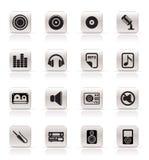 Eenvoudige Muziek en correcte Pictogrammen Royalty-vrije Stock Afbeelding