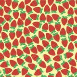 Eenvoudige naadloze aardbeiachtergrond Stock Afbeeldingen