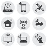 Eenvoudige pictogrammen Internet van dingen en netwerk Stock Afbeelding