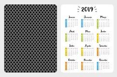 Eenvoudige Portugese Vectorzakkalender het jaar van 2019 vector illustratie