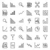Eenvoudige reeks analitische verwante overzichtspictogrammen Stock Afbeelding