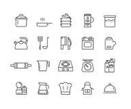 Eenvoudige Reeks pictogrammen van de Keukengereedschap vector dunne lijn Royalty-vrije Stock Foto's