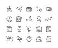 Eenvoudige Reeks pictogrammen van de Leverings vector dunne lijn Royalty-vrije Stock Afbeeldingen