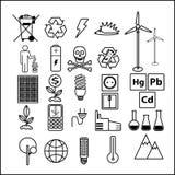 Eenvoudige reeks van het thema van lijnpictogrammen van ecologie Bevat pictogrammen zoals batterij, LEIDENE lamp, zonnebatterij,  royalty-vrije illustratie