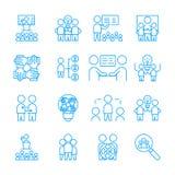 Eenvoudige Reeks van Team Work-pictogram vector wit lineair tekensymbool stock illustratie