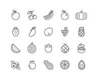 Eenvoudige Reeks Vruchten vector dunne lijnpictogrammen Stock Afbeelding