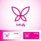 Eenvoudige roze vlinder voor kuuroord, schoonheids en wellnessproducten Royalty-vrije Stock Foto