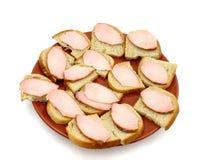 Eenvoudige sandwiches Stock Afbeeldingen
