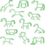 Eenvoudige schetsen van de paarden Stock Afbeeldingen