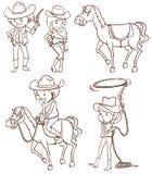Eenvoudige schetsen van een cowboy Stock Foto's