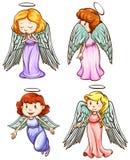 Eenvoudige schetsen van engelen vector illustratie