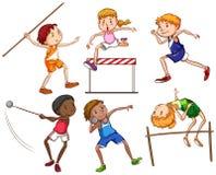 Eenvoudige schetsen van mensen die met verschillende sporten belast Royalty-vrije Stock Afbeelding