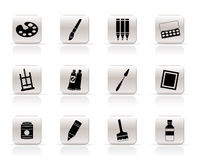 Eenvoudige schilder, het trekken en het schilderen pictogrammen Royalty-vrije Stock Foto's