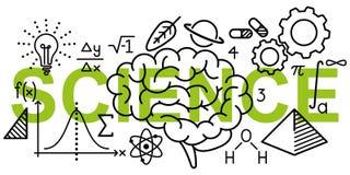 Eenvoudige schone conceptionele vectorillustratie van wiskunde en wetenschap verwante lijnpictogrammen op woordwetenschap stock illustratie
