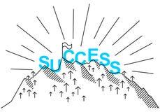 Eenvoudige schone conceptionele vlakke lijn vectorillustratie van pijlen en berg met de zitting van het woordsucces op bovenkant Stock Foto's