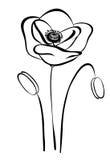 Eenvoudige silhouet zwart-witte papaver. Abstracte bloem Stock Afbeeldingen