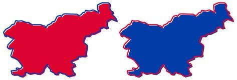 Eenvoudige slechts scherpe hoekenkaart - Republiek van de vectortekening van Slovenië Mercatorprojectie Gevulde en overzichtsvers royalty-vrije illustratie