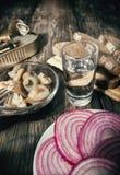 Eenvoudige, smakelijke snack en alcohol Stock Afbeelding