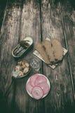 Eenvoudige, smakelijke snack en alcohol Royalty-vrije Stock Afbeelding