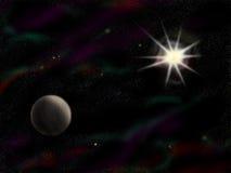 Eenvoudige starfield met planeet Royalty-vrije Stock Afbeeldingen