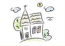 Eenvoudige tekening van een kleine kerk Royalty-vrije Stock Afbeelding