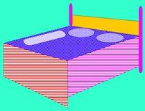 eenvoudige tweepersoonsbedillustraties Stock Foto