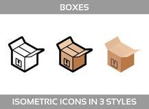 Eenvoudige Vastgestelde ofIsometrische verpakkende dozen Vector3dâPictogrammen Kleuren isometrische pictogrammen in drie stijl Stock Afbeeldingen