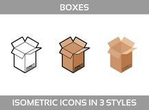 Eenvoudige Vastgestelde ofIsometrische verpakkende dozen Vector3dâPictogrammen Kleuren isometrische pictogrammen in drie stijl Stock Afbeelding