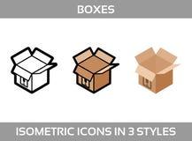 Eenvoudige Vastgestelde ofIsometrische verpakkende dozen Vector3dâPictogrammen Kleuren isometrische pictogrammen zonder slagen Stock Fotografie
