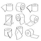 Eenvoudige vastgestelde pictogrammen van toiletpapierbroodjes Royalty-vrije Stock Foto