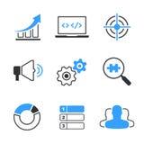 Eenvoudige vector het pictogramreeks van SEO Royalty-vrije Stock Afbeelding
